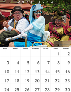 June 2012 Walt Disney World Calendar - 8.5x11