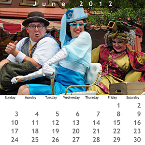 June 2012 Walt Disney World Calendar - Jewel Case